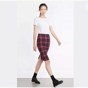 Zara Check Mini Midi Skirt, Blue & Red